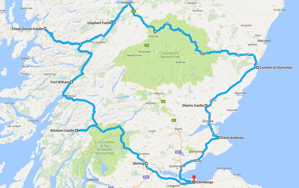 scozia itinerario castelli mappa