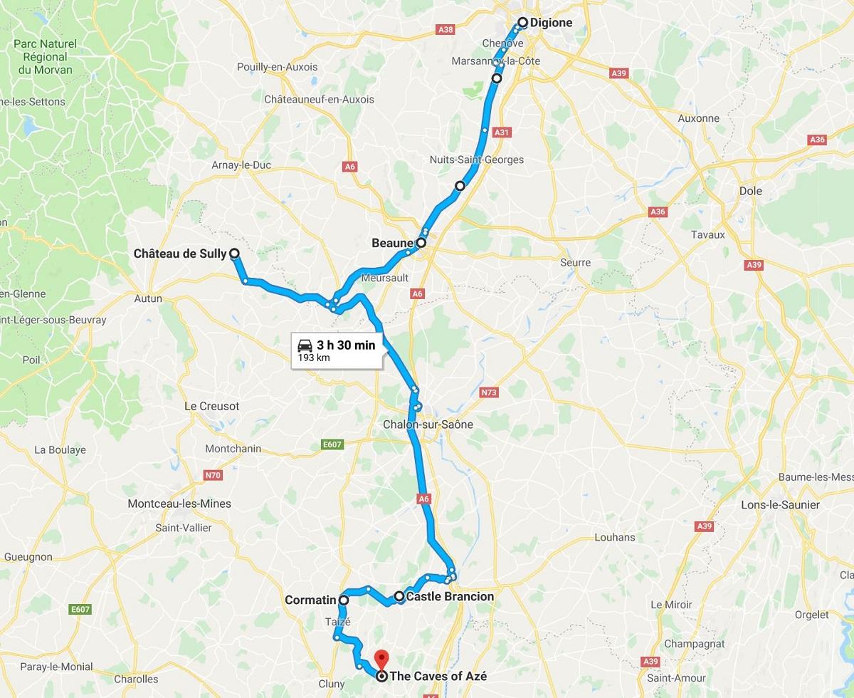 itinerario viaggio in Borgogna